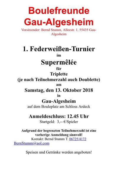 1. Federweißen-Turnier Gau-Algesheim @ Schloss Ardeck, Gau-Algesheim | Gau-Algesheim | Rheinland-Pfalz | Deutschland